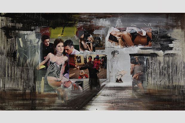 Collage auf Leinwand, 40 x 80 cm, 2012