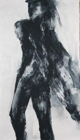 Netzwerfer, Acryl auf Bttenpapier, 220 x 125 cm, 2011